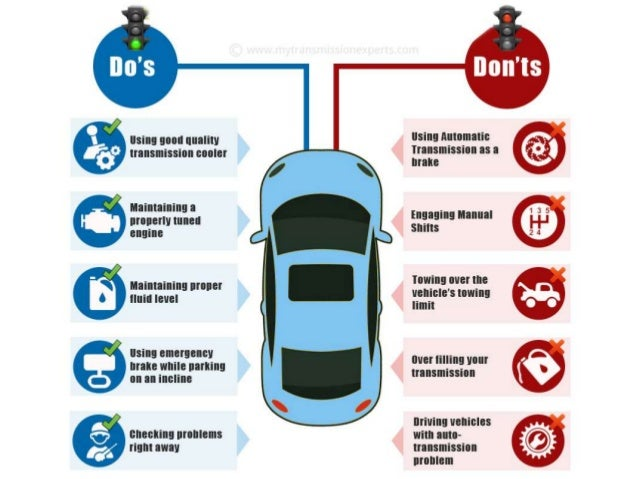 """An infographic on """"DO's and Don'ts in Auto Transmission"""" Slide 2"""