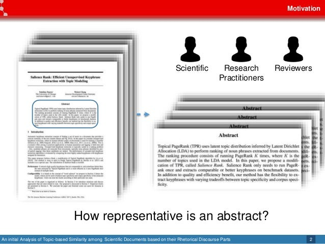 An initial Analysis of Topic-based Similarity among Scientific Documents based on their Rhetorical Discourse Parts Motivat...