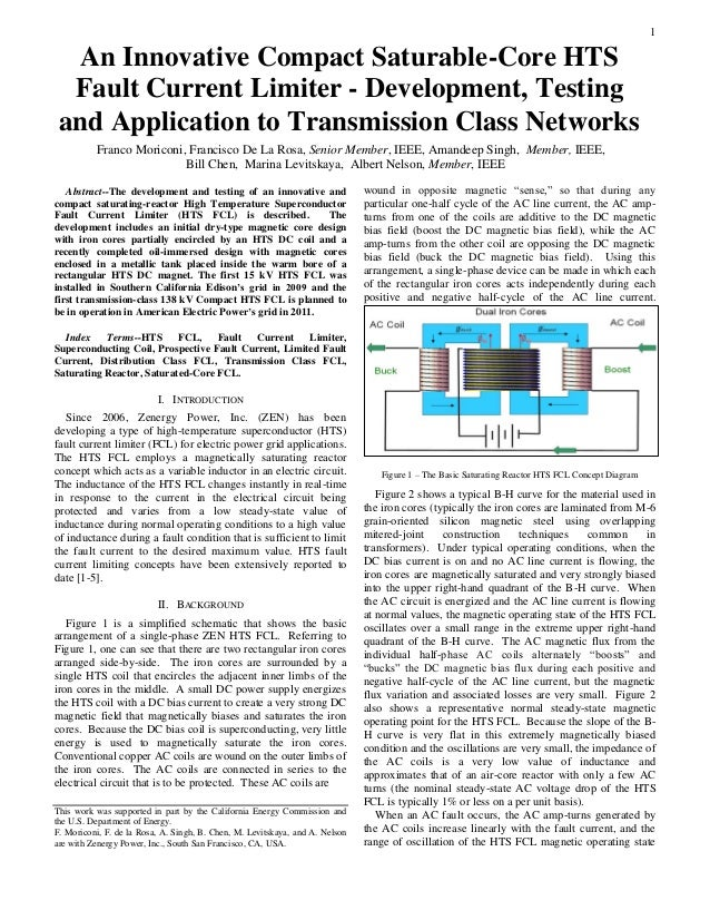 1Abstract--The development and testing of an innovative andcompact saturating-reactor High Temperature SuperconductorFault...