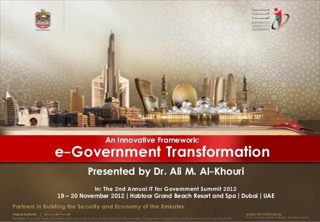 An Innovative Framework:                                      e-Government Transformation                                 ...