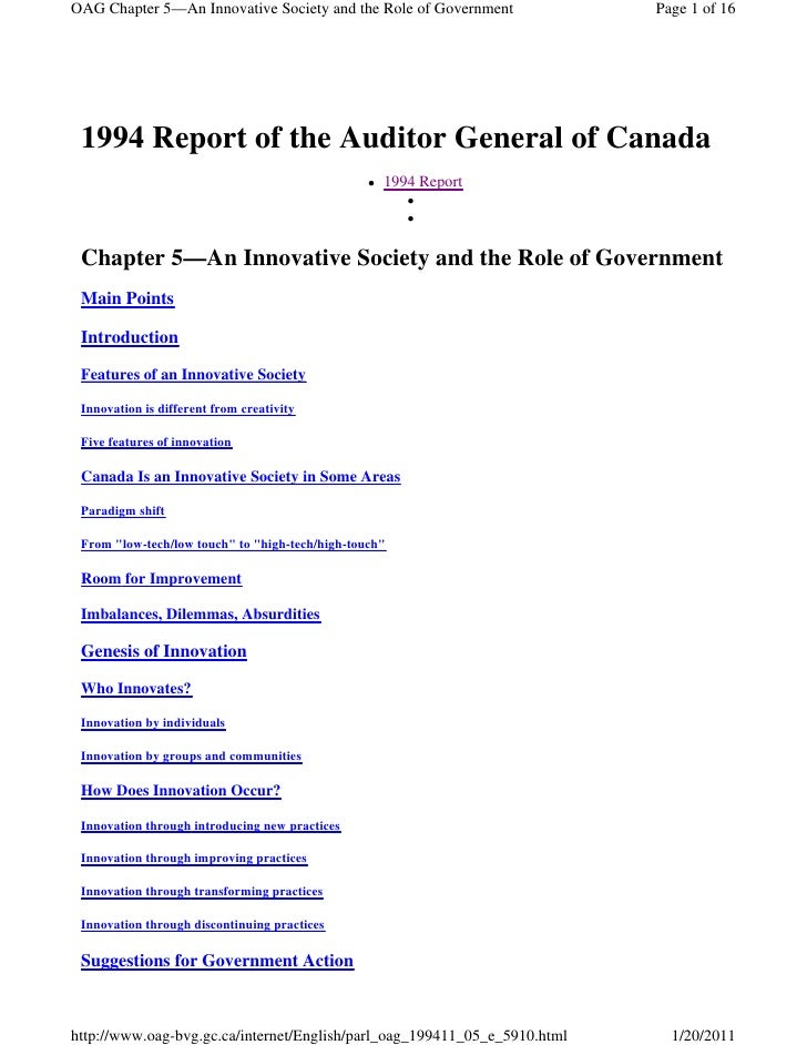 OAG Chapter 5—An Innovative Society and the Role of Government             Page 1 of 16 1994 Report of the Auditor General...