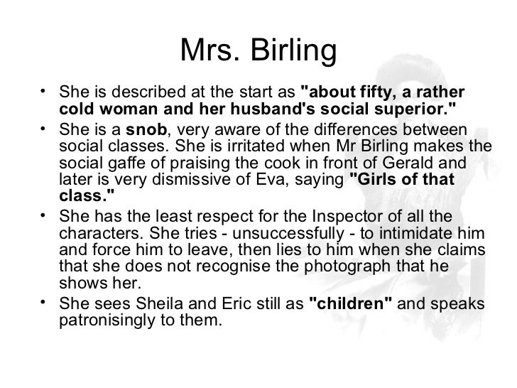 the relationship between shelia and mrs birling in an inspector calls essay An inspector calls context play notes  mrs birling should sound higher-class than her husband  there could be a distinct contrast between this line and what she.