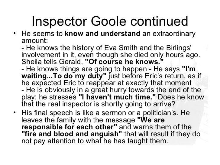 an analysis of inspector gooles entrance