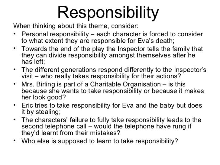 an inspector calls responsibility essay plan Essay writing gcse english- an inspector calls-wjec 1 controlled assessment essay welcome 2 lesson aim make notes for an a4 prompt sheet to take into the controlled assessment 3 prompt sheet may contain:•essay plan•quotes• vocabulary 4 essays began as opinion pieces montainge 1580.