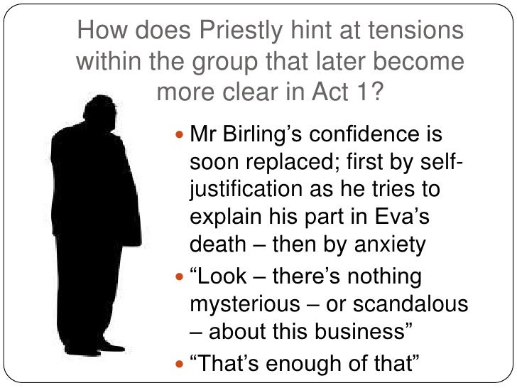 priestley hint at the tensions essay 'an inspector calls' was written in the mid-1940's following the second world war at the time it was a highly successful play, and whilst times and social morals have changed, it remains to this day entertaining and thought provoking.