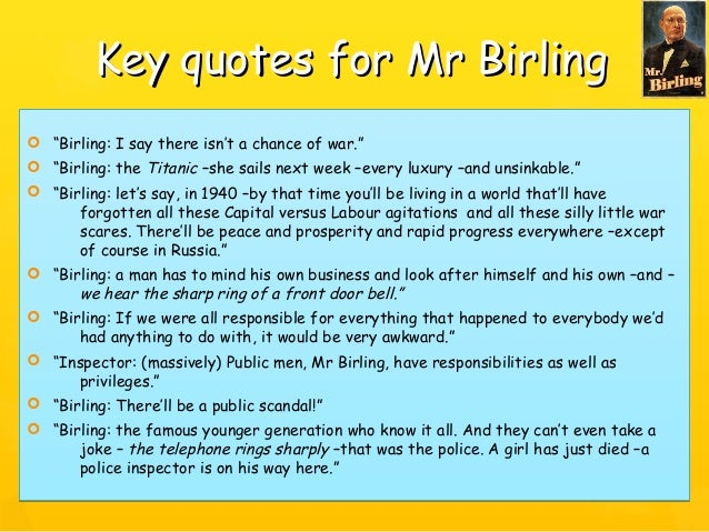 mr birling an inspector calls essay An essay on how the character of mr birling is presented by priestley in the play 'an inspector calls.