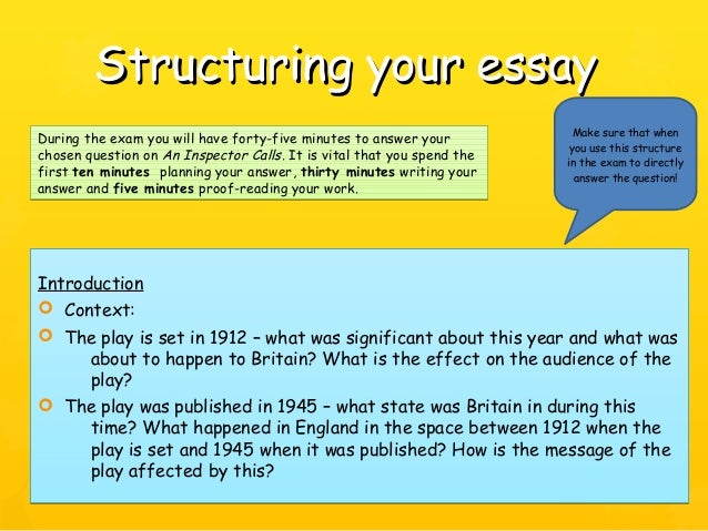 an inspector calls revision 24 structuring your essaystructuring your essay