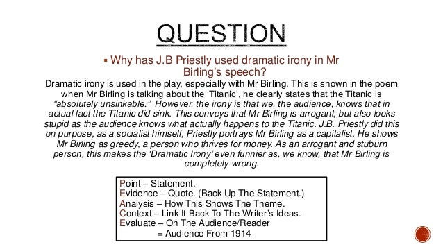how does the arrival of inspector A secondary school revision resource for gcse english literature about the dramatic effect of j b priestley's an inspector calls  tension and timing there are.
