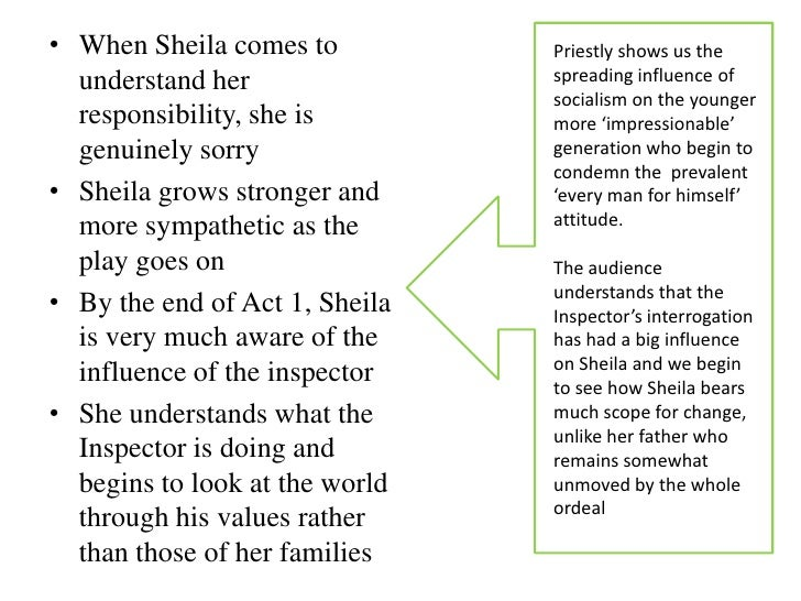 sheila inspector calls acceptance The birling family (arthur, sybil, sheila and eric) and gerald croft, are having a   she won't be rushed into accepting the ring back once the inspector has left.