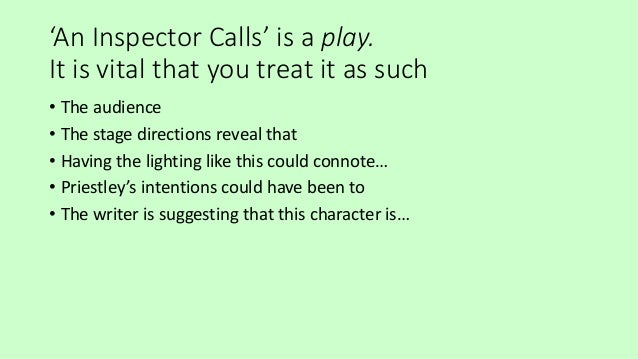 short review about an inspector calls by j b priestley Essay review of an inspector calls by jb priestley - review of an inspector calls by jb priestley the performance in question was a performance of an inspector calls, by j b priestley, at the playhouse theatre, northumberland avenue, london.