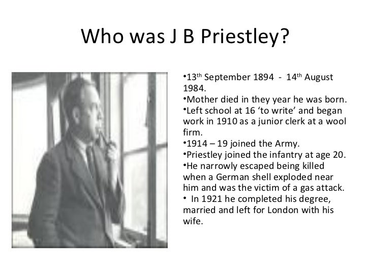 the inspector in jb priestlys essay J b priestley: j b priestley, british novelist, playwright, and essayist, noted for   a reputation with the essays collected in the english comic characters (1925)  and  basis for a mystery drama with moral overtones, an inspector calls (1946.