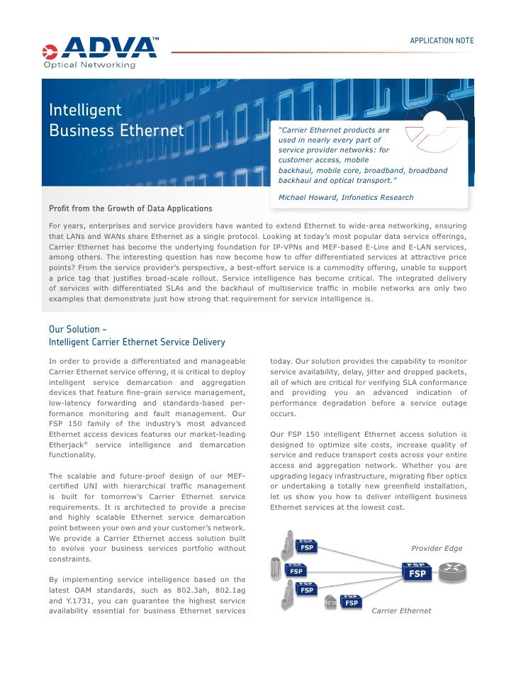 "APPLICATION NOTEIntelligentBusiness Ethernet                                               ""Carrier Ethernet products are ..."