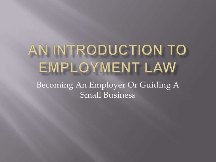 introduction to employment law Fundamentals of employment law provides a foundation in the key areas of employment law it enables you to handle the common employment issues that arise on a day-to-day basis in a confident and professional manner  this course will give you a crucial introduction to the essentials of employment law it is particularly suitable for those.