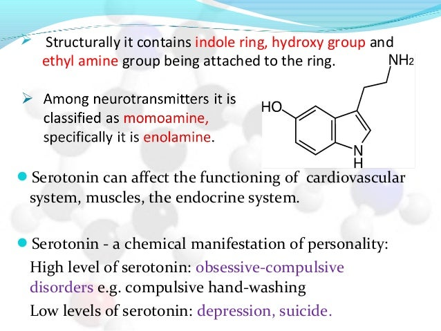 Serotonin can affect the functioning of cardiovascular system, muscles, the endocrine system. Serotonin - a chemical man...