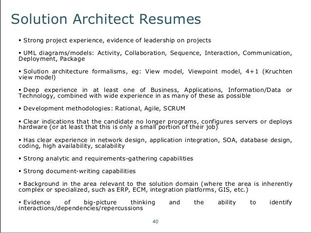solution architect resumes