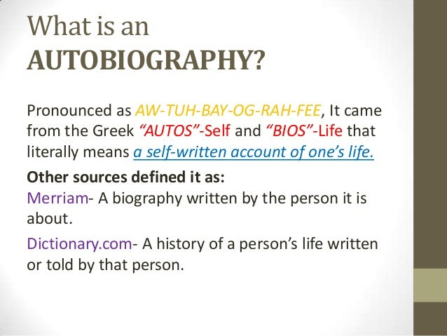 Definition of biography essay examples
