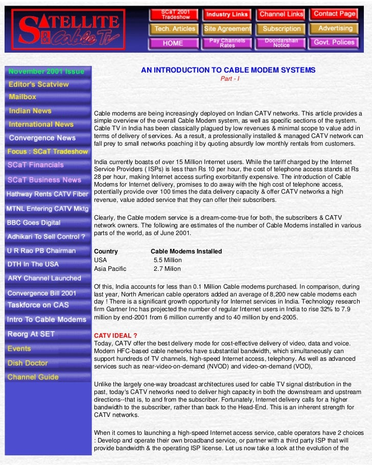 Satellite & Cable TV                                                 AN INTRODUCTION TO CABLE MODEM SYSTEMS               ...