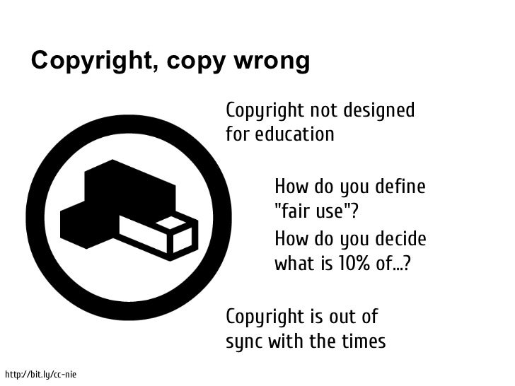 Copyright, copy wrong                       Copyright not designed                       for education                    ...