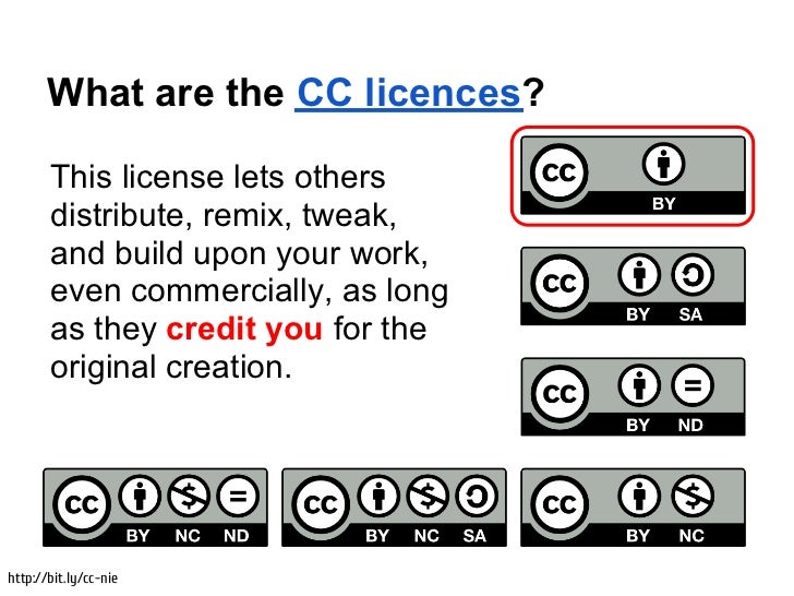 What are the CC licences?       This license lets others       distribute, remix, tweak,       and build upon your work,  ...