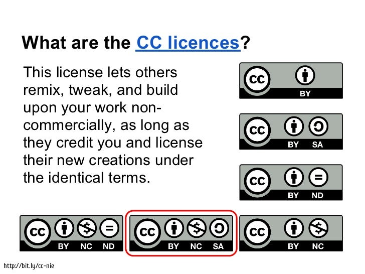 What are the CC licences?       This license lets others       remix, tweak, and build       upon your work non-       com...
