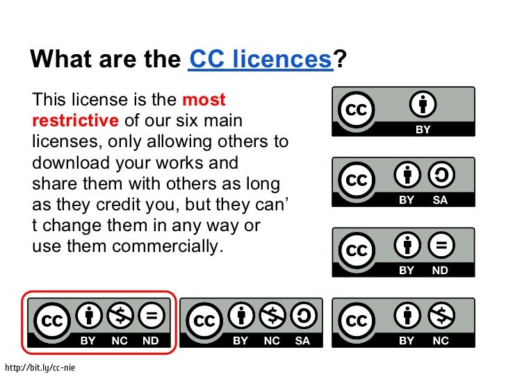 What are the CC licences?       This license is the most       restrictive of our six main       licenses, only allowing o...