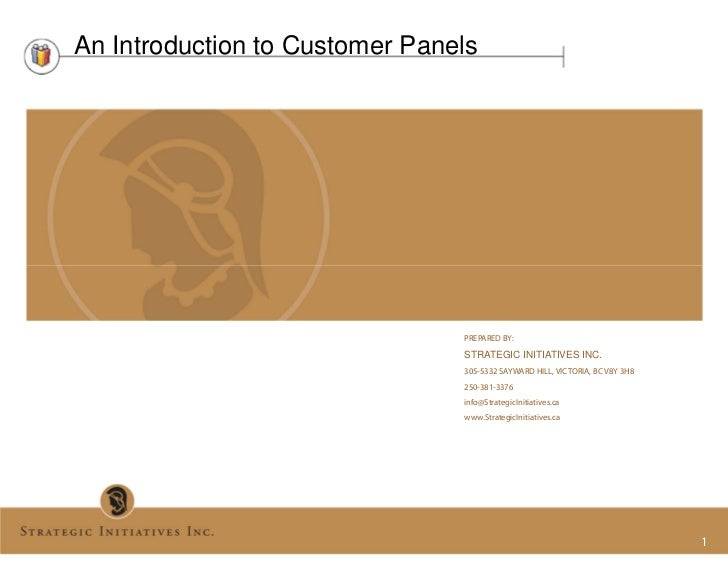 An Introduction to Customer Panels                                PREPARED BY:                                STRATEGIC IN...