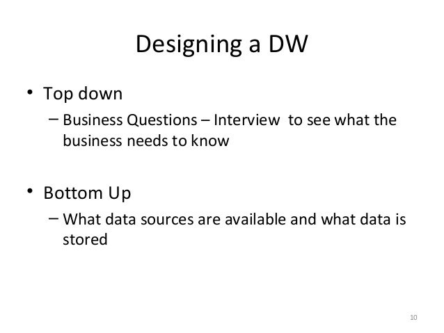 introduction to data warehousing Introduction to data warehousing defined in many different ways, but not rigorously a decision support database that is maintained separately from the organization.