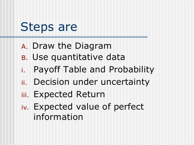 expected value payoff tables