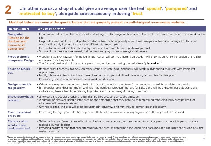 2              …in other words, a shop should give an average user the feel 'special', 'pampered' and               'motiv...