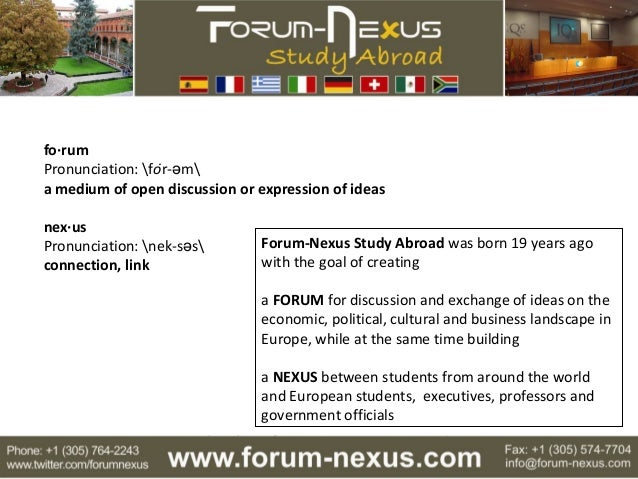 An Introduction To Forum Nexus Study Abroad Intensive Summer