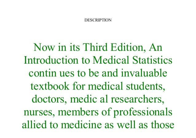 An Introduction To Medical Statistics Pdf