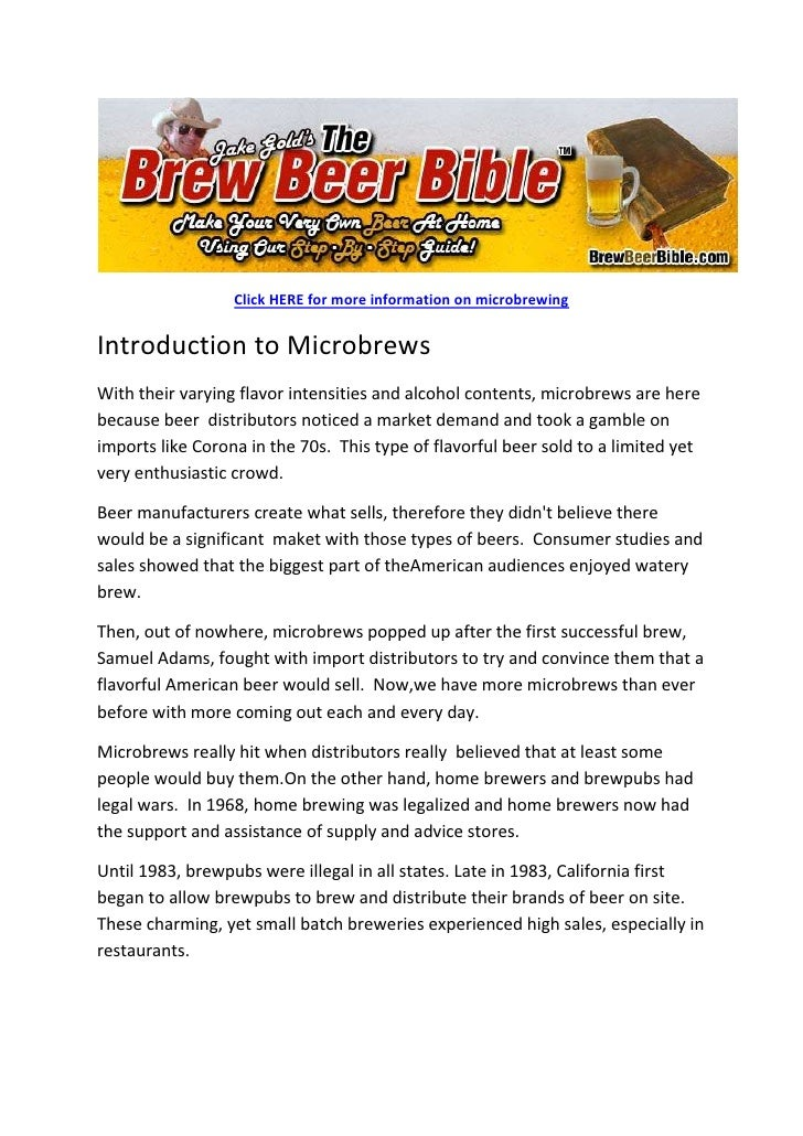 Click HERE for more information on microbrewing<br />Introduction to Microbrews<br />With their varying flavor intensities...