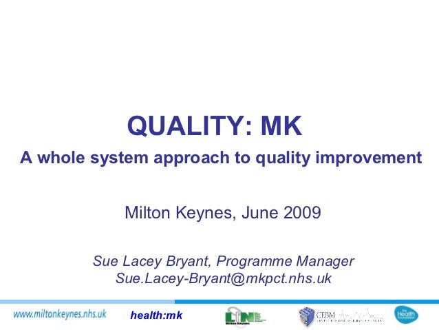 QUALITY: MKA whole system approach to quality improvement            Milton Keynes, June 2009        Sue Lacey Bryant, Pro...