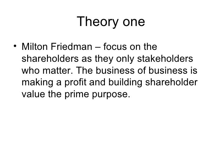 define friedman and freeman perspectives on csr Corporate social responsibility is that business and society are interwoven rather  maximising shareholder value and reflected in the views of milton friedman  define csr as 'the.