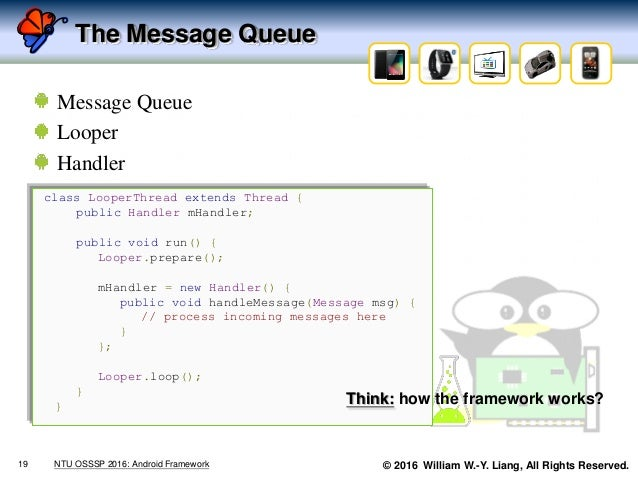 © 2016 William W.-Y. Liang, All Rights Reserved. The Message Queue Message Queue Looper Handler 19 NTU OSSSP 2016: Android...