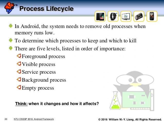 © 2016 William W.-Y. Liang, All Rights Reserved. Process Lifecycle In Android, the system needs to remove old processes wh...