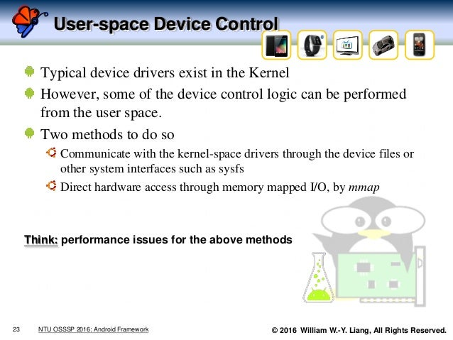 © 2016 William W.-Y. Liang, All Rights Reserved. User-space Device Control Typical device drivers exist in the Kernel Howe...