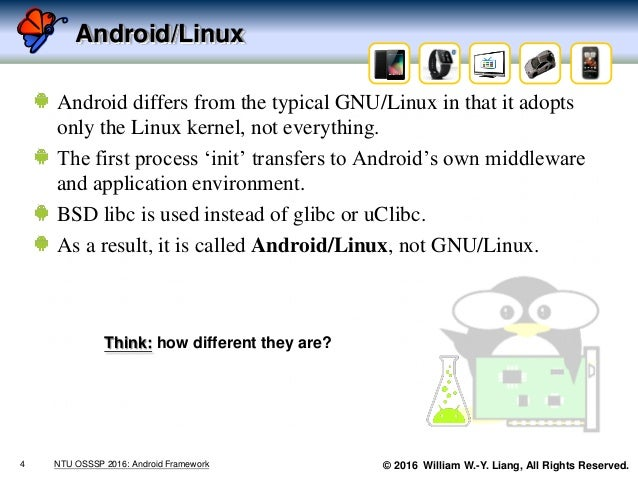 © 2016 William W.-Y. Liang, All Rights Reserved. Android/Linux Android differs from the typical GNU/Linux in that it adopt...