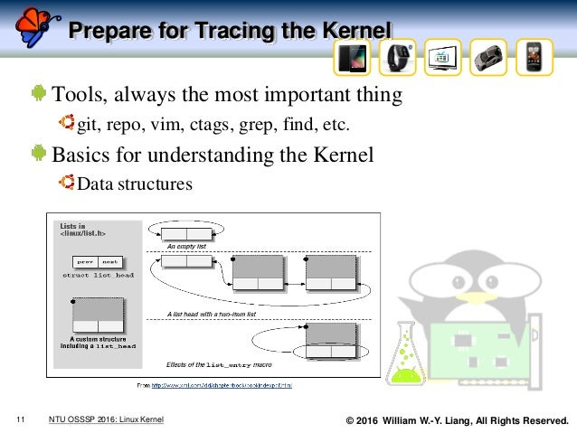 © 2016 William W.-Y. Liang, All Rights Reserved. Prepare for Tracing the Kernel Tools, always the most important thing git...