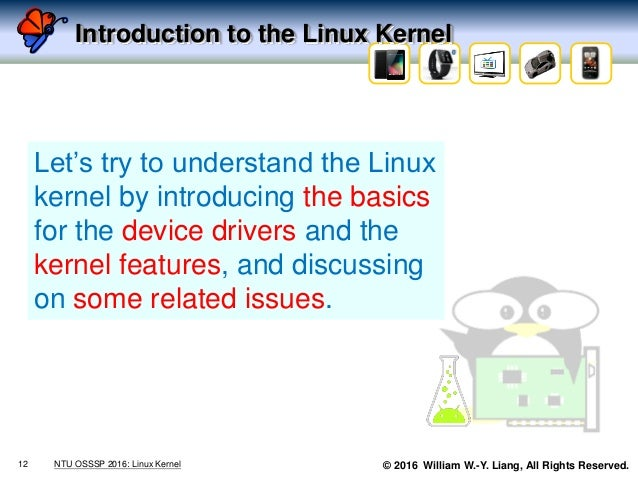 © 2016 William W.-Y. Liang, All Rights Reserved. Introduction to the Linux Kernel 12 NTU OSSSP 2016: Linux Kernel Let's tr...