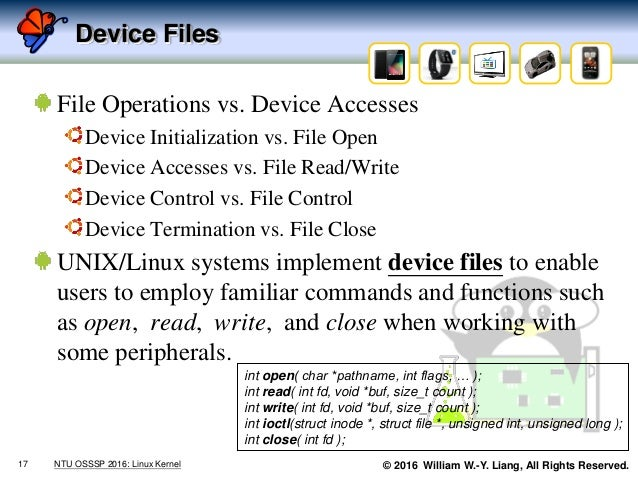 © 2016 William W.-Y. Liang, All Rights Reserved. Device Files File Operations vs. Device Accesses Device Initialization vs...