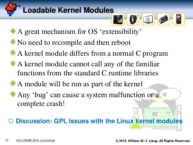 © 2016 William W.-Y. Liang, All Rights Reserved. Loadable Kernel Modules A great mechanism for OS 'extensibility' No need ...