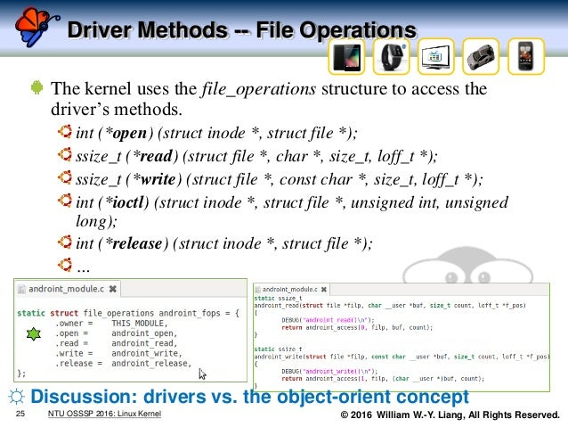 © 2016 William W.-Y. Liang, All Rights Reserved. Driver Methods -- File Operations The kernel uses the file_operations str...