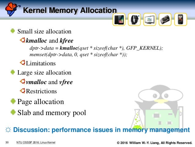 © 2016 William W.-Y. Liang, All Rights Reserved. Kernel Memory Allocation Small size allocation kmalloc and kfree dptr->da...