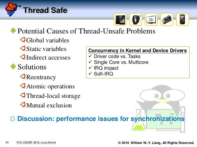 © 2016 William W.-Y. Liang, All Rights Reserved. Thread Safe Potential Causes of Thread-Unsafe Problems Global variables S...
