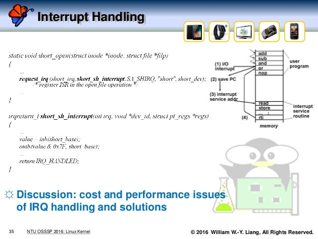© 2016 William W.-Y. Liang, All Rights Reserved. Interrupt Handling 35 NTU OSSSP 2016: Linux Kernel ☼ Discussion: cost and...