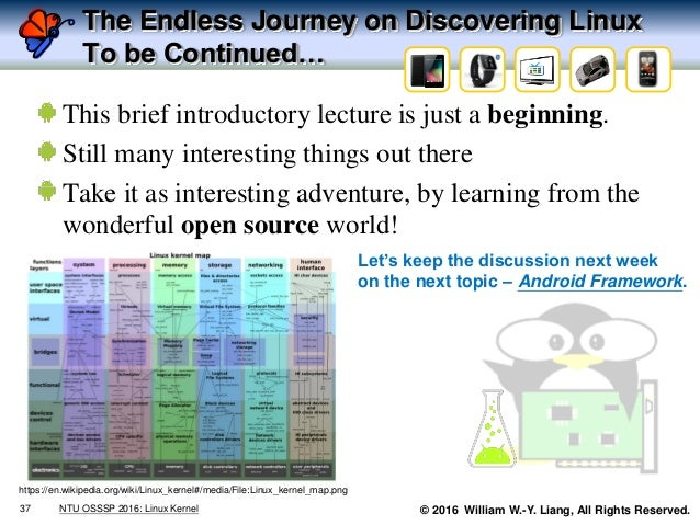 © 2016 William W.-Y. Liang, All Rights Reserved. The Endless Journey on Discovering Linux To be Continued… This brief intr...