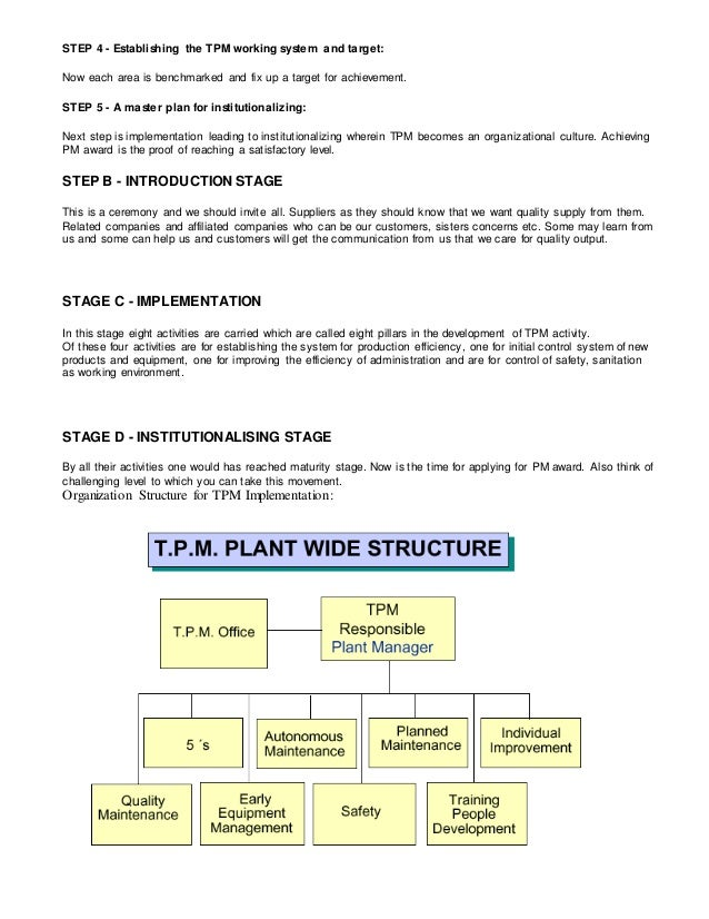 an introduction to total productive maintenance Wwwstudymafiaorg content 1 introduction 2 what is tpm 3 why tpm 4 evolution of tpm 5 objectives of total productive maintenance.
