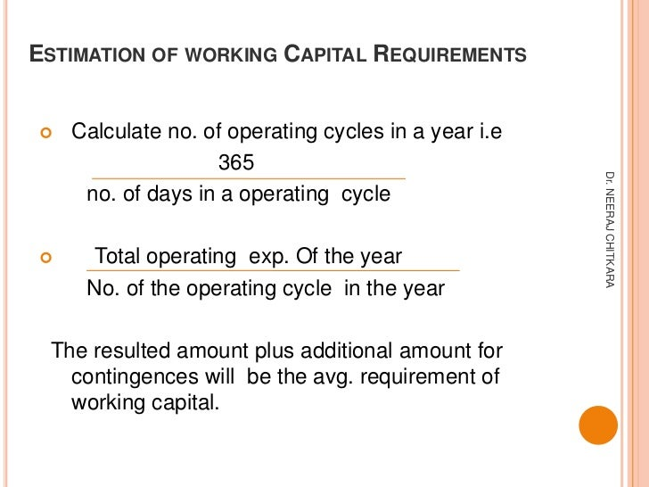 ESTIMATION OF WORKING CAPITAL REQUIREMENTS   Calculate no. of operating cycles in a year i.e                   365       ...