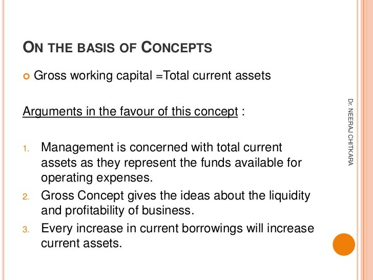 ON THE BASIS OF CONCEPTS    Gross working capital =Total current assets                                                  ...